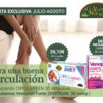 Oferta de Agosto: Por la compra de un CIRCUGREEN 30 ampollas, un VENOPLAN FORTE 30 comprimidos de Regalo! Para tener una buena circulación!