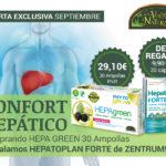 Oferta de Septiembre: Por la compra de un Hepagreen 30 ampollas, un Zentrum Hepatoplan Forte 30 cápsulas de regalo. Ayuda a tu hígado a mantenerse sano!