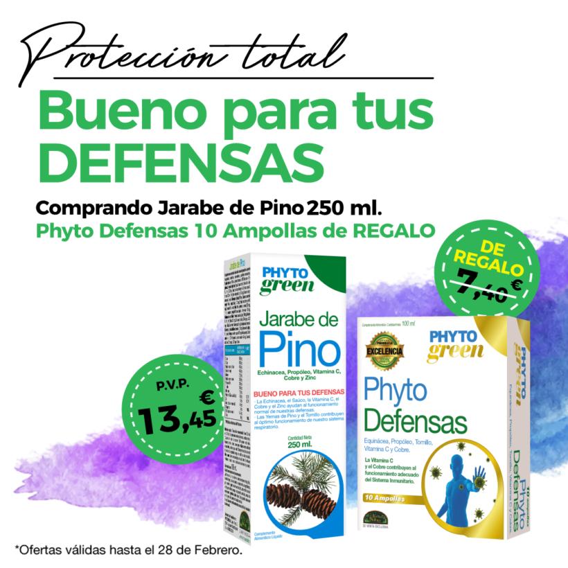 Oferta Febrero: Por la compra de un  Jarabe de pino 250 ml Phytogreen, un Phytodefensas 10 ampollas Phytogreen de REGALO. Pon tus defensas a tope!