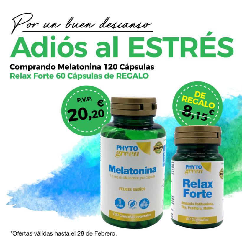 Oferta Febrero: Por la compra de una Melatonina 120 cápsulas Phytogreen, un Relax forte 60 cápsulas Phytogreen de REGALO! Felices sueños!
