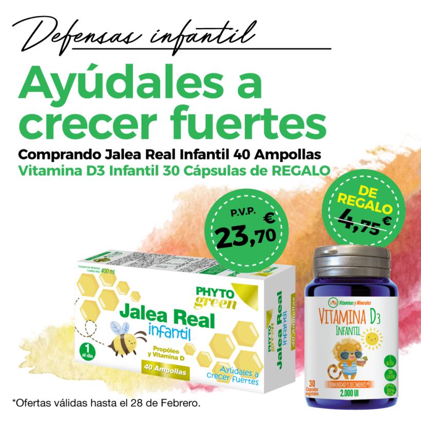Oferta Febrero: Por la compra de una Jalea Infantil 40 ampollas Phytogreen, de REGALO una  Vitamina D3 infantil 30 cápsulas.  Ayuda a las defensas de tu peque!