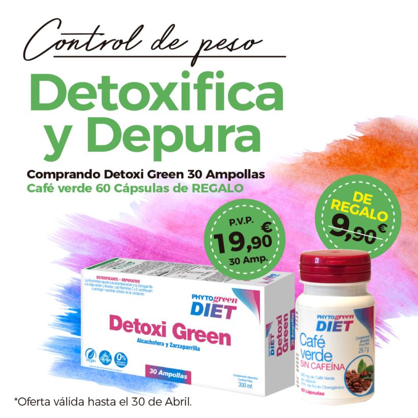 Oferta Abril: Por la compra de un Detoxigreen 30 ampollas, un  Café verde 60 cápsulas de regalo! Cuídate!