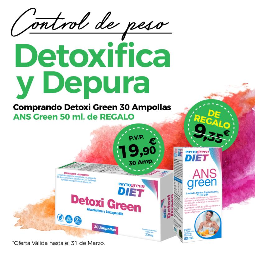 Oferta Marzo: Por la compra de un Detoxigreen 30 ampollas Phytogreen , un  Ansgreen 50 ml de REGALO! Cuida tu figura!