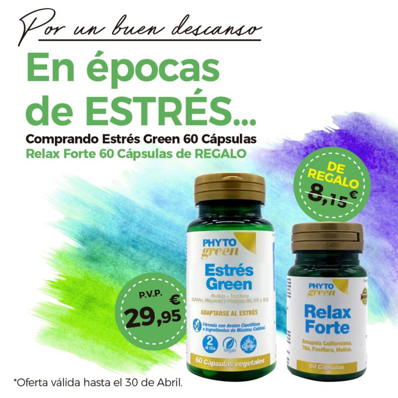 Oferta Abril: Por la compra de un  Estrésgreen 60 cápsulas, un  Relax forte 60 cápsulas de regalo! Combate el estrés!
