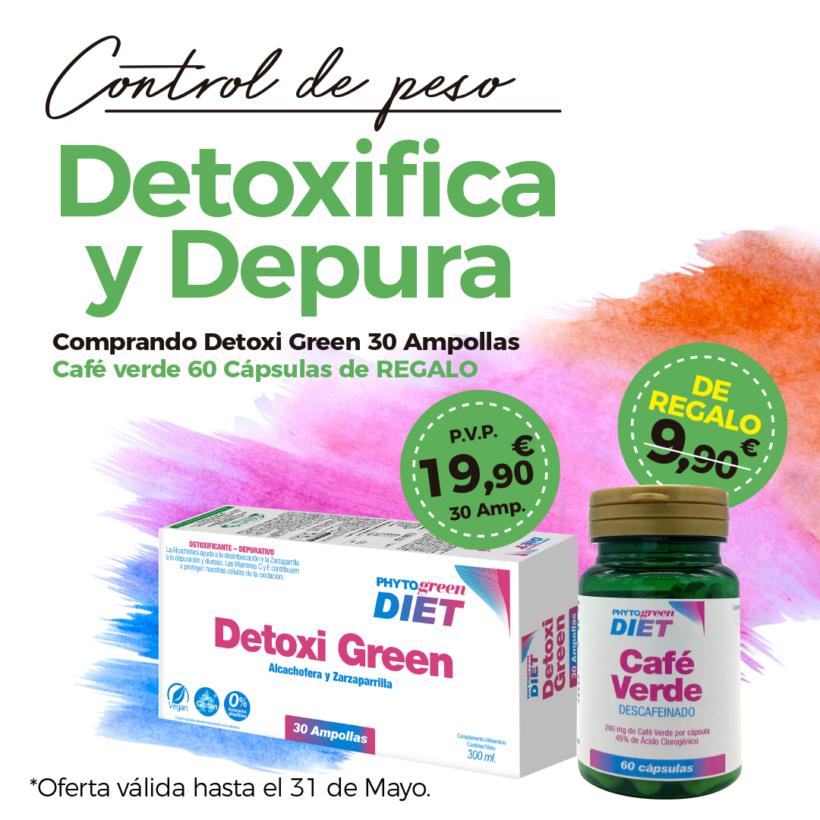 Oferta Mayo: Por la compra de un Detoxigreen 30 ampollas, un  Café verde 60 cápsulas de regalo! Cuídate!