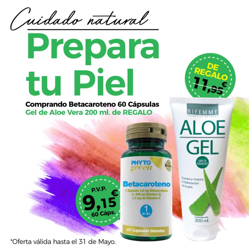 Oferta Mayo: Por la compra de un Betacaroteno 60 perlas, un Gel de aloe vera 200 ml Bifemme de REGALO. Prepara tu piel para el verano!