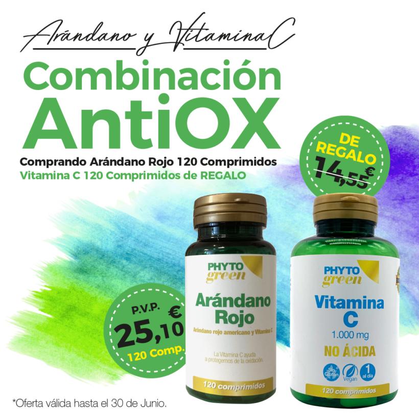 Oferta Junio: Por la compra de un  Arándano rojo 120 comprimidos, Vitamina C 120 comprimidos de REGALO!