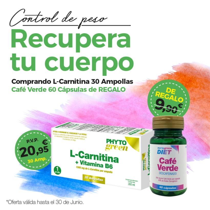 Oferta Junio: Por la compra de una  L-Carnitina 30 ampollas, un Café verde 60 cápsulas de REGALO!
