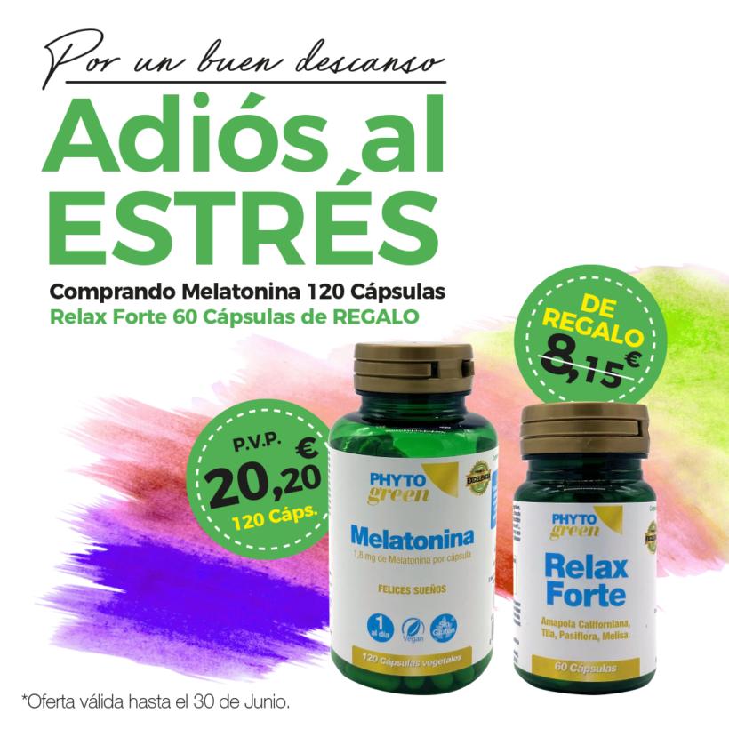 Oferta Junio: Por la compra de una Melatonina 120 cápsulas, un  Relax forte 60 cápsulas de REGALO!.