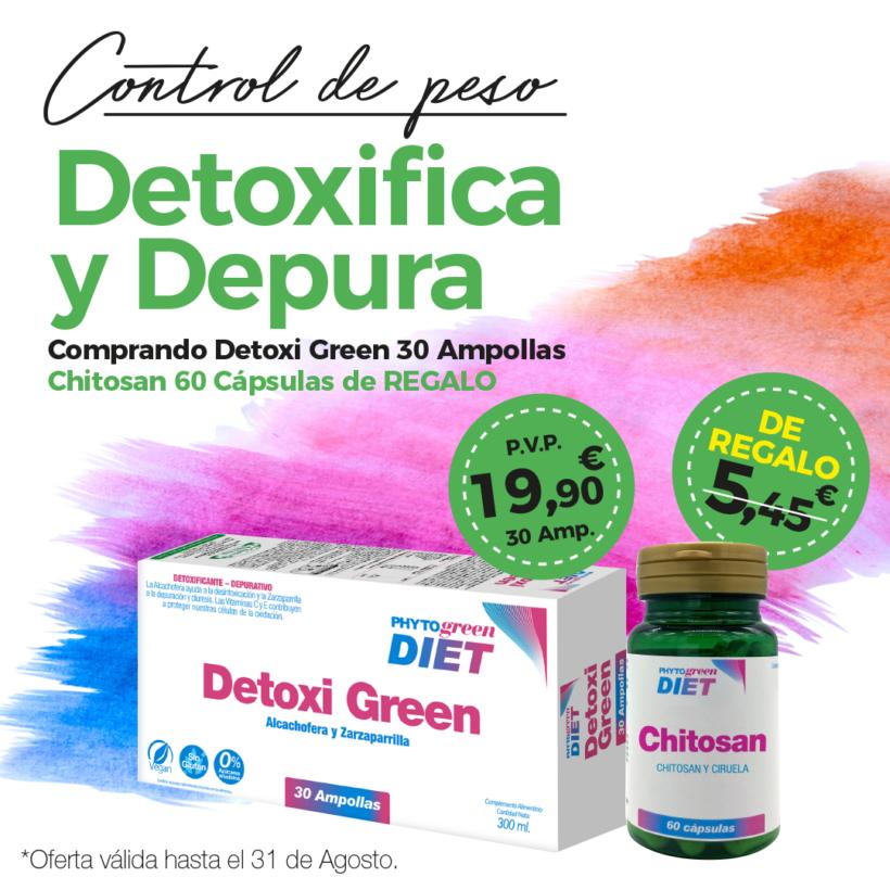 Oferta Agosto: Por la compra de un Detoxigreen 30 ampollas, un Chitosán 60 cápsulas de REGALO!