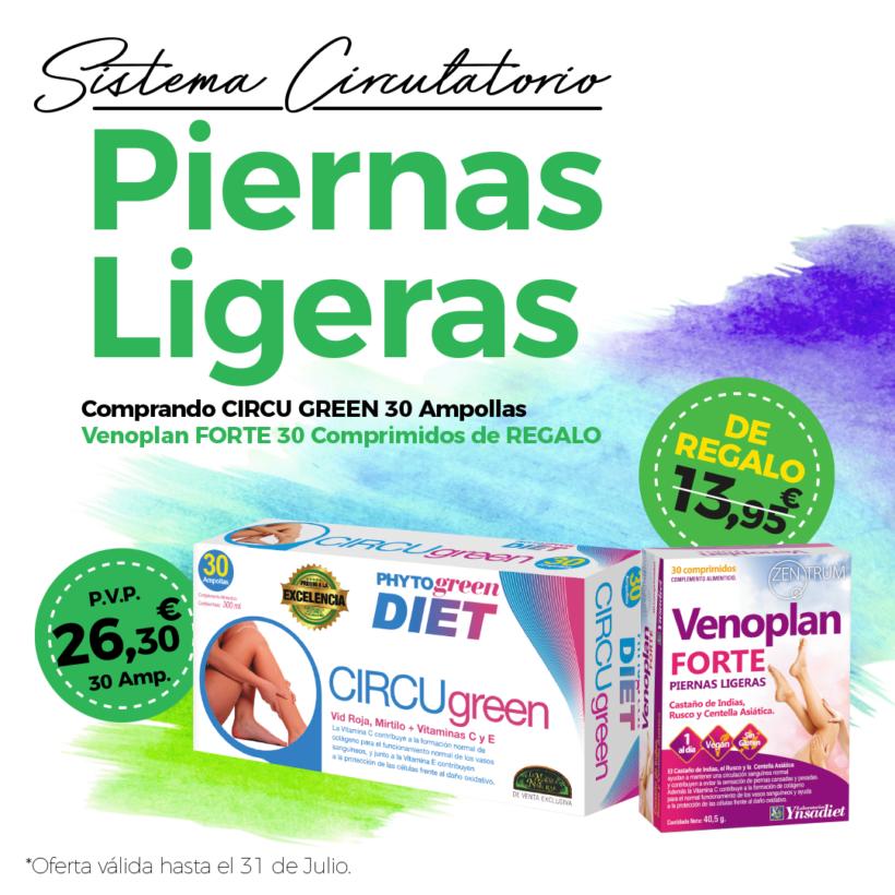 Oferta Julio: Por la compra de un Circugreen 30 ampollas, un  Zentrum Venoplan Forte 30 comprimidos de REGALO! Cuida tu circulación!