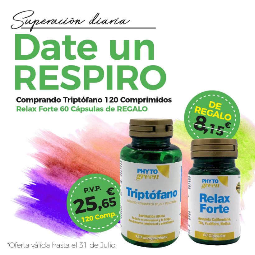 Oferta Julio: Por la compra de un  Triptófano 120 comprimidos, un Relax forte 60 cápsulas de REGALO!
