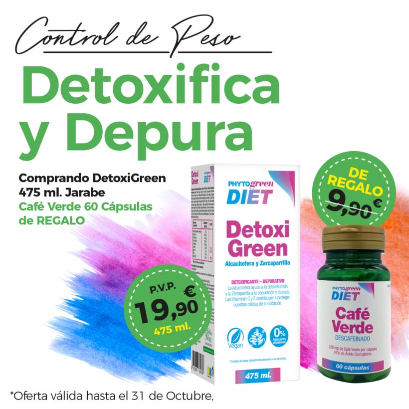 Oferta Octubre: Por la compra de DetoxiGreen te llevas de regalo Café verde descafeinado valorado en 9'90€.