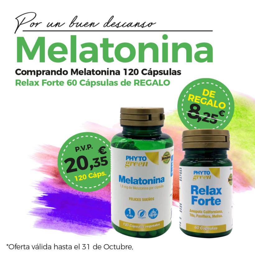 Oferta Octubre: Por la compra de melatonina 120 cápsulas de regalo Relax forte valorado en 8'25€.